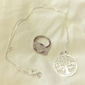 Sterling silver tree of life ring and necklace